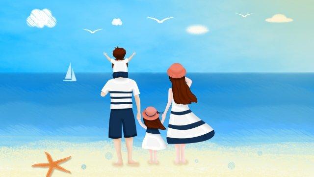 परिवार समुद्र तट नीला आकाश समुद्र चित्रण छवि चित्रण छवि
