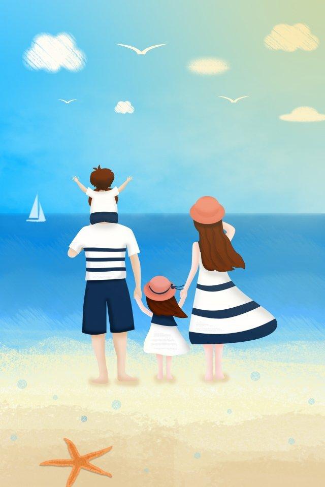 परिवार समुद्र तट नीला आकाश समुद्र चित्रण छवि