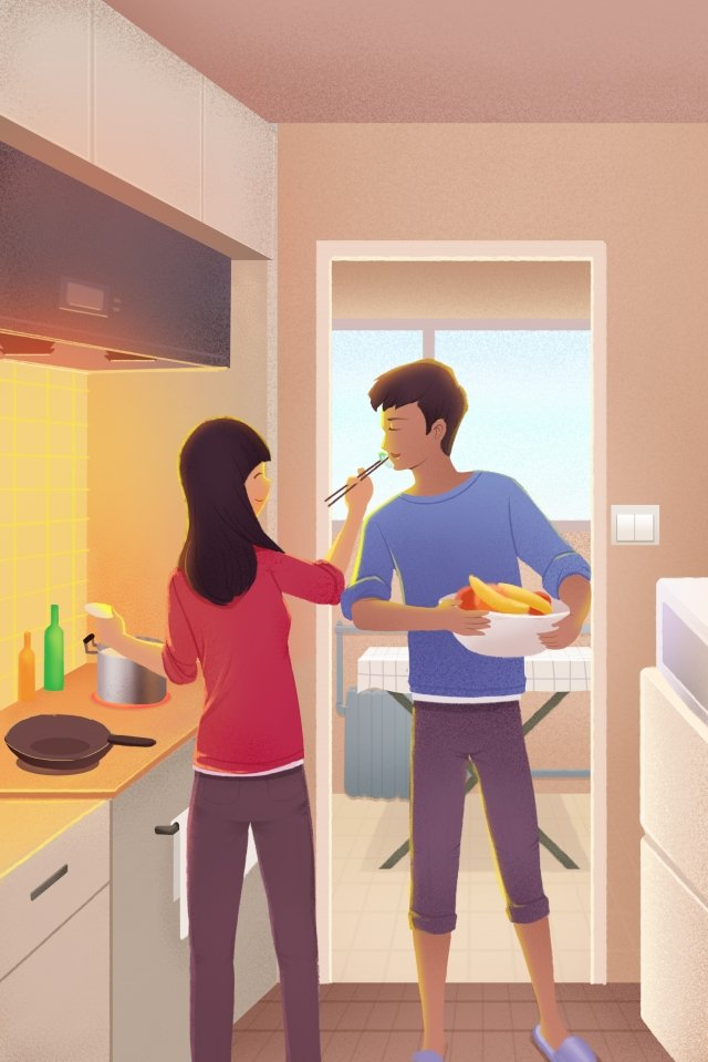 family cooking warm kitchen llustration image
