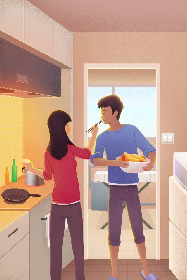 family cooking warm kitchen illustration image