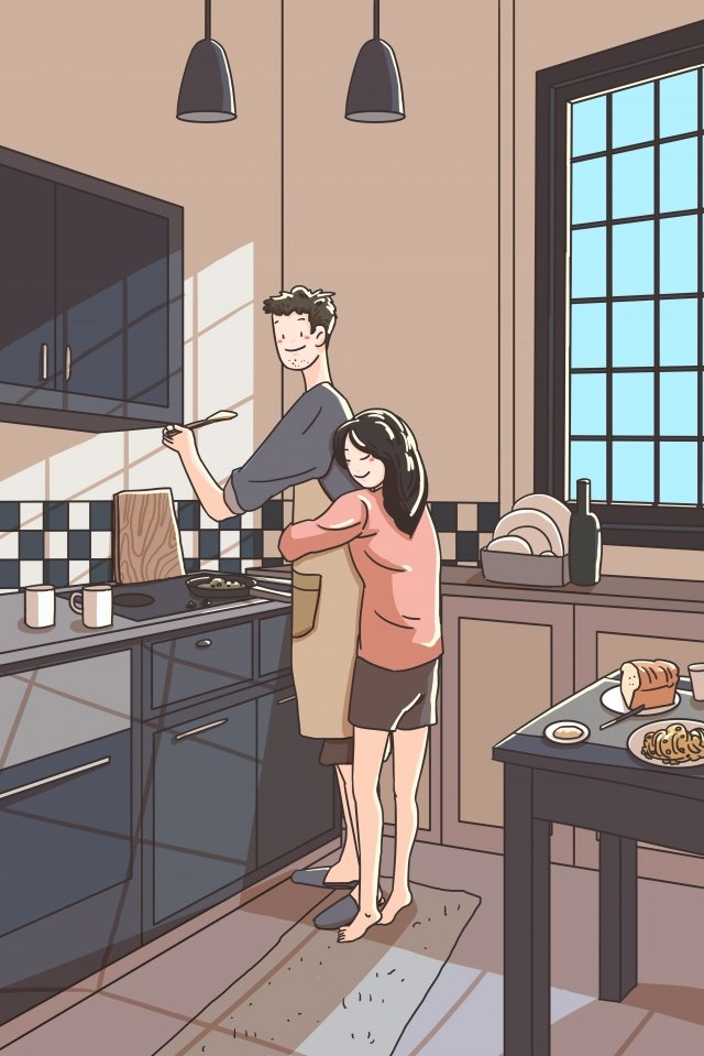 family couple kitchen couple llustration image