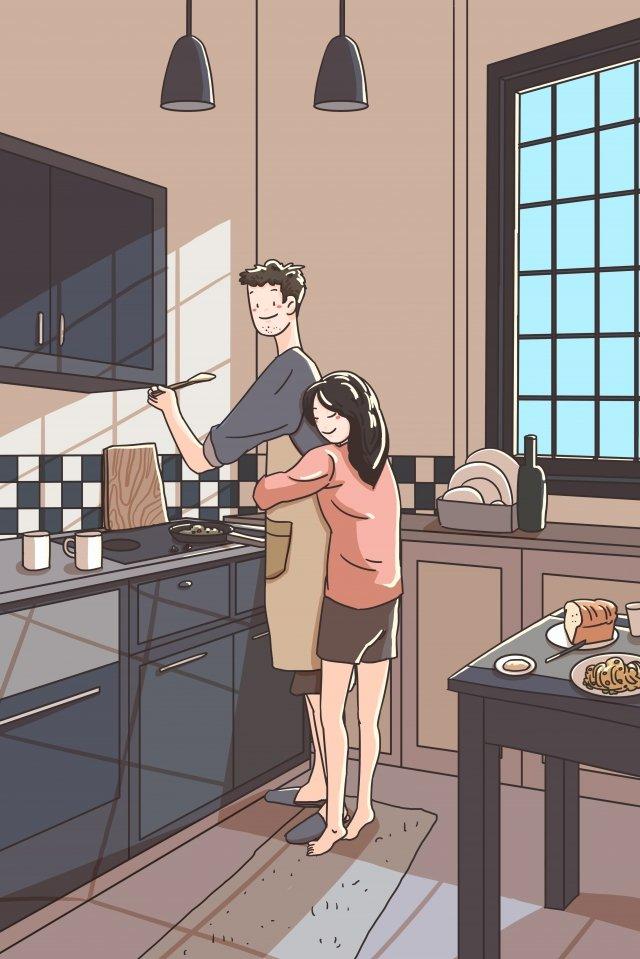 family couple kitchen couple llustration image illustration image