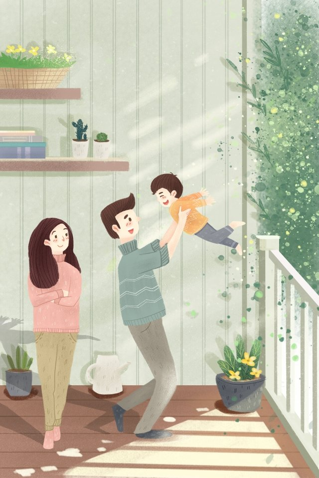 family family hand painted character, Warm, Fly, High illustration image