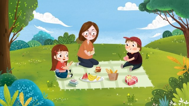 family family outing child, Mother, Food, Grassland illustration image
