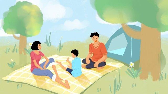 gia đình gia đình đi du lịch dã ngoại cha mẹ Hình minh họa