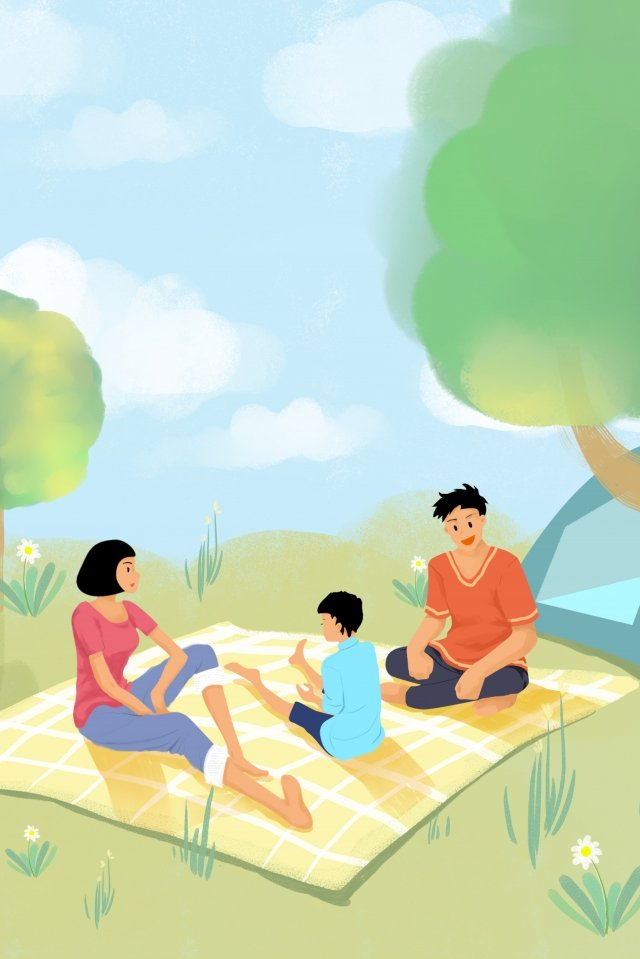 family family parent-child tour picnic, Outing, Play, Nature illustration image
