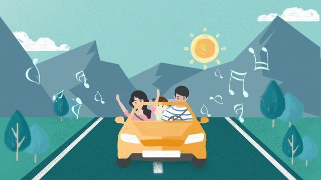 家庭領域春季旅遊驅動器 插畫素材 插畫圖片