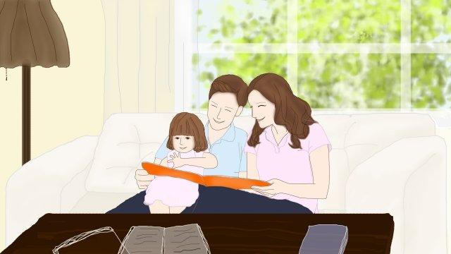 家族イラスト午後暖かい イラスト素材 イラスト画像