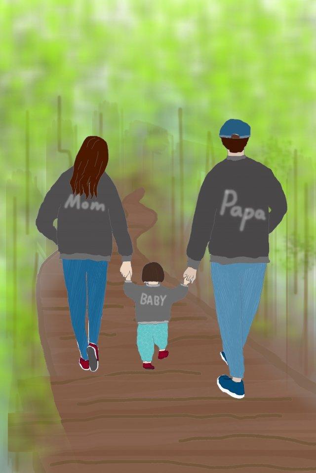 minh họa gia đình ấm áp một gia đình ba Hình minh họa Hình minh họa