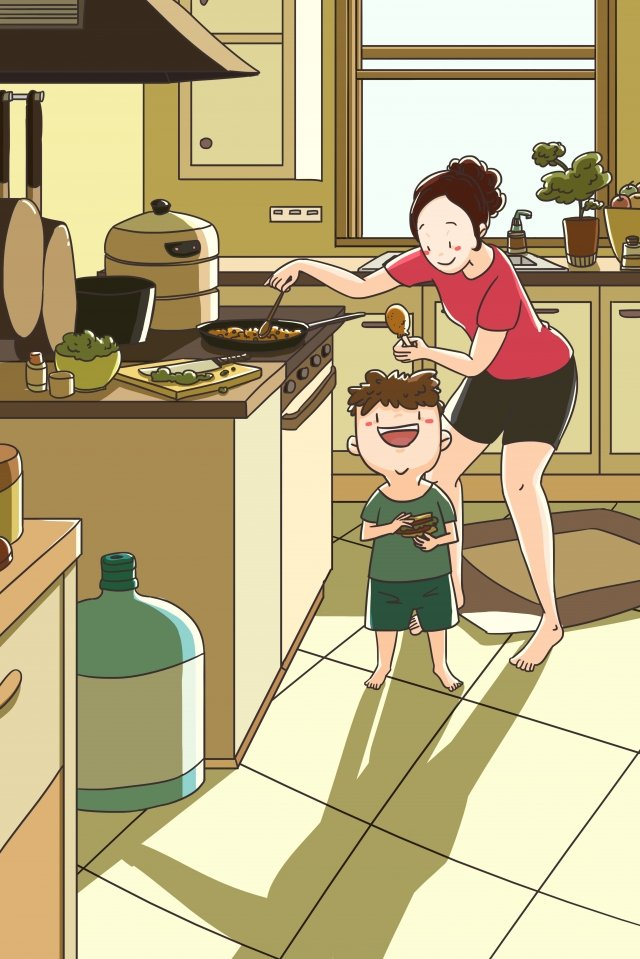 family mother and child parent-child kitchen, Cooking, Breakfast, Happy illustration image