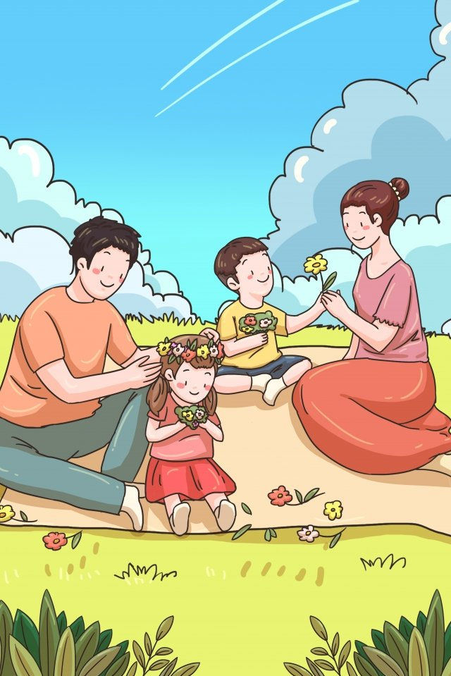 family parents child child, Parent-child, Hook Line Illustration, Flower Picking illustration image
