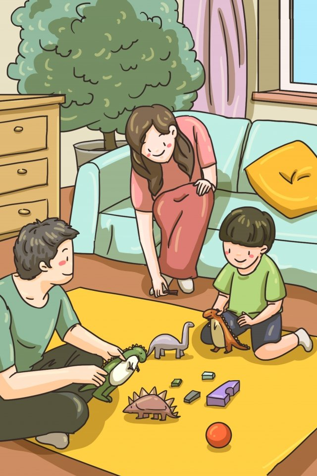 family playing with toys accompany parent-child, Parents, Child, Parent-child illustration image