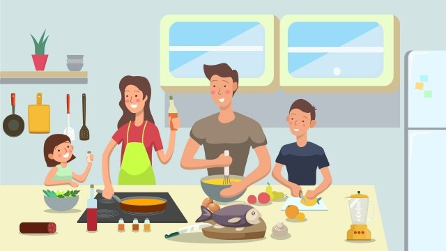 family reunion cooking warm llustration image