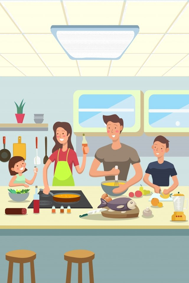 đoàn tụ gia đình nấu ăn ấm áp Hình minh họa