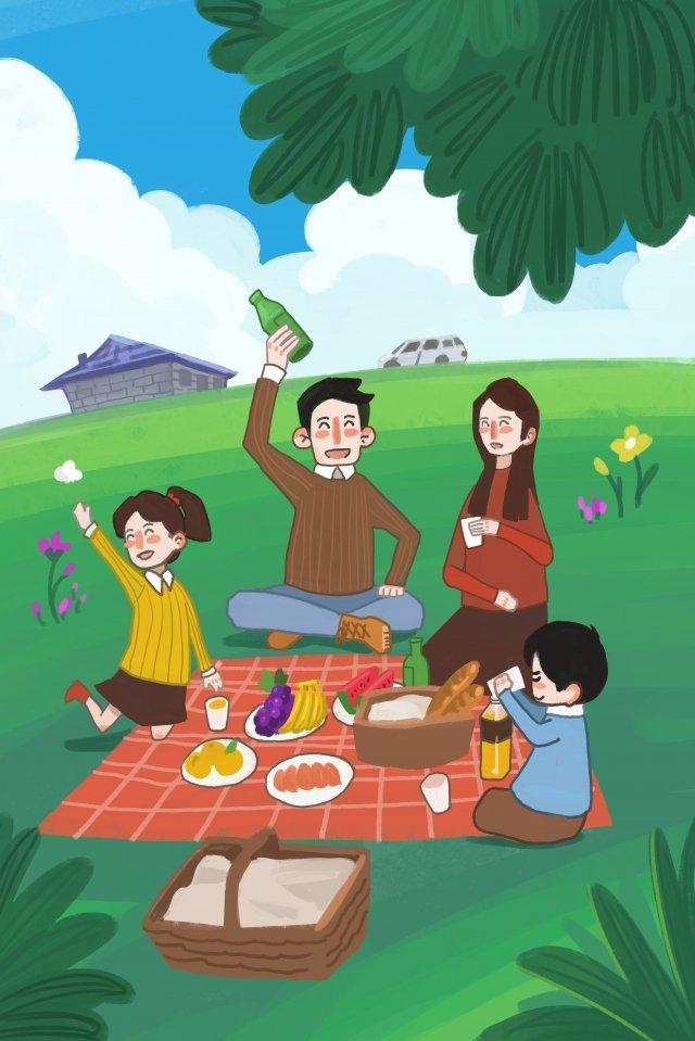 家族観光旅行の休日 イラスト素材 イラスト画像