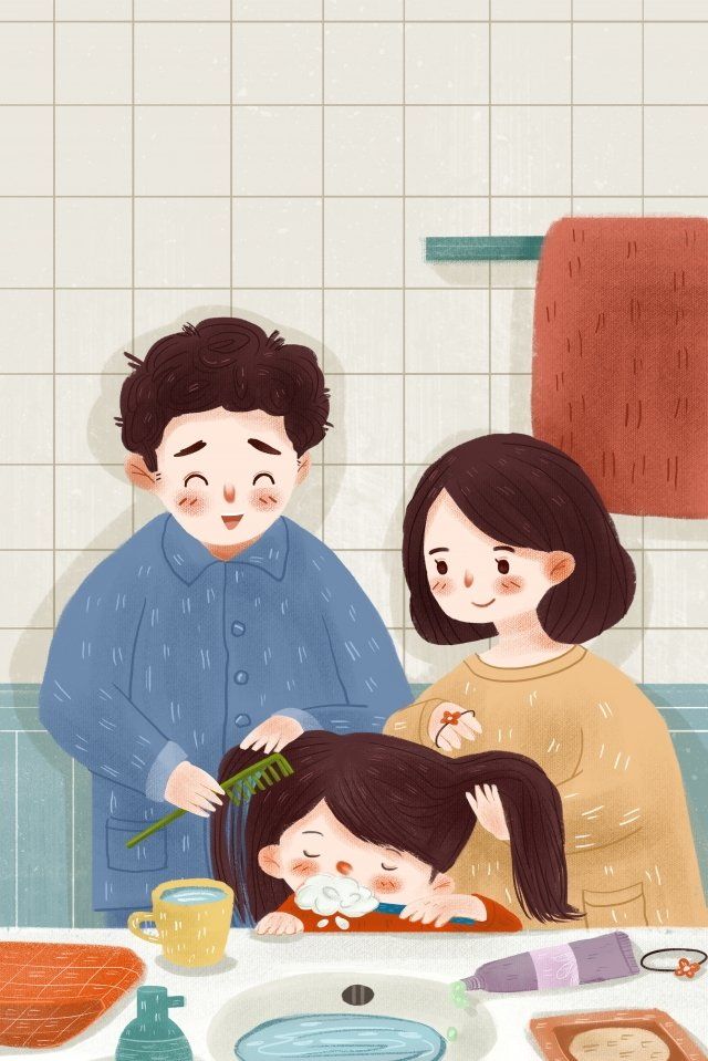 family warm brushing teeth good morning, Teeth, Daddy, Mother illustration image