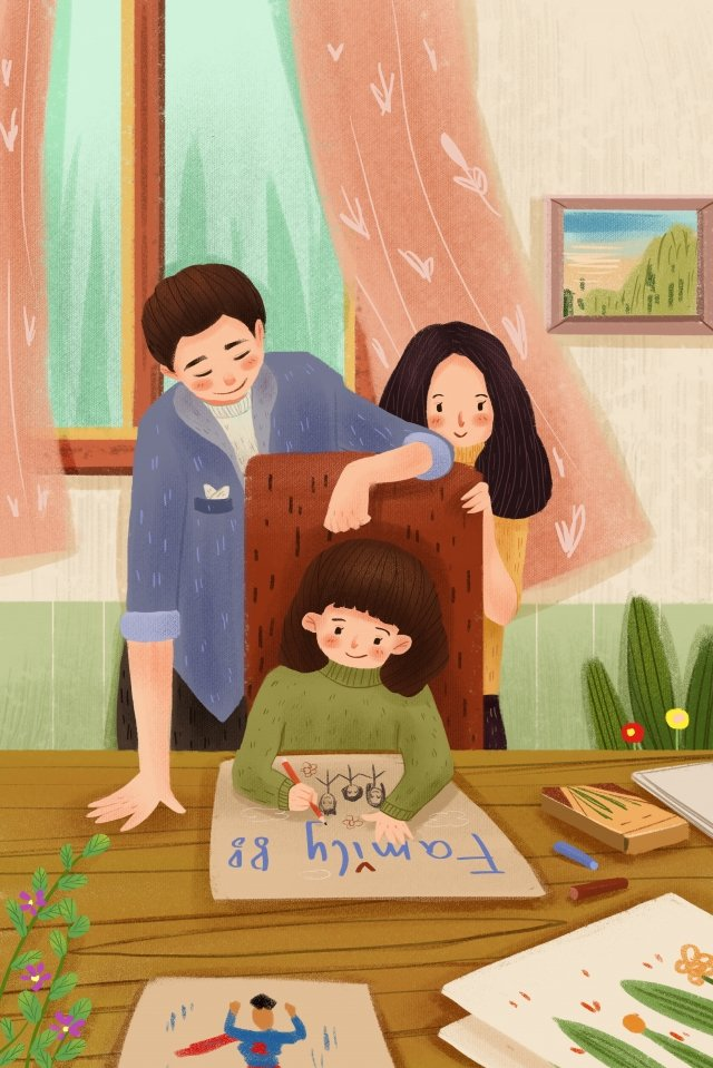 family warm child hand painted llustration image