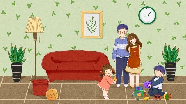 家族の暖かい幸せなカップル イラスト素材 イラスト画像