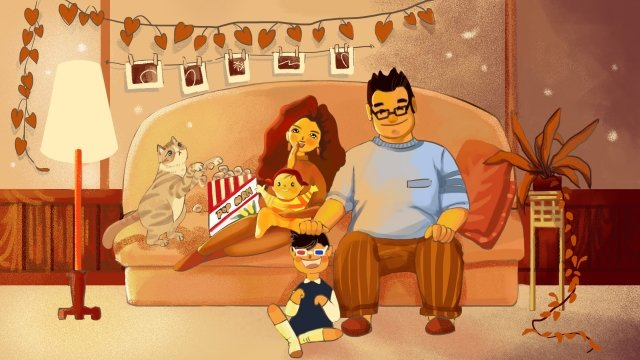 family warm mom and dad child, Watch Movie, Popcorn, Family illustration image