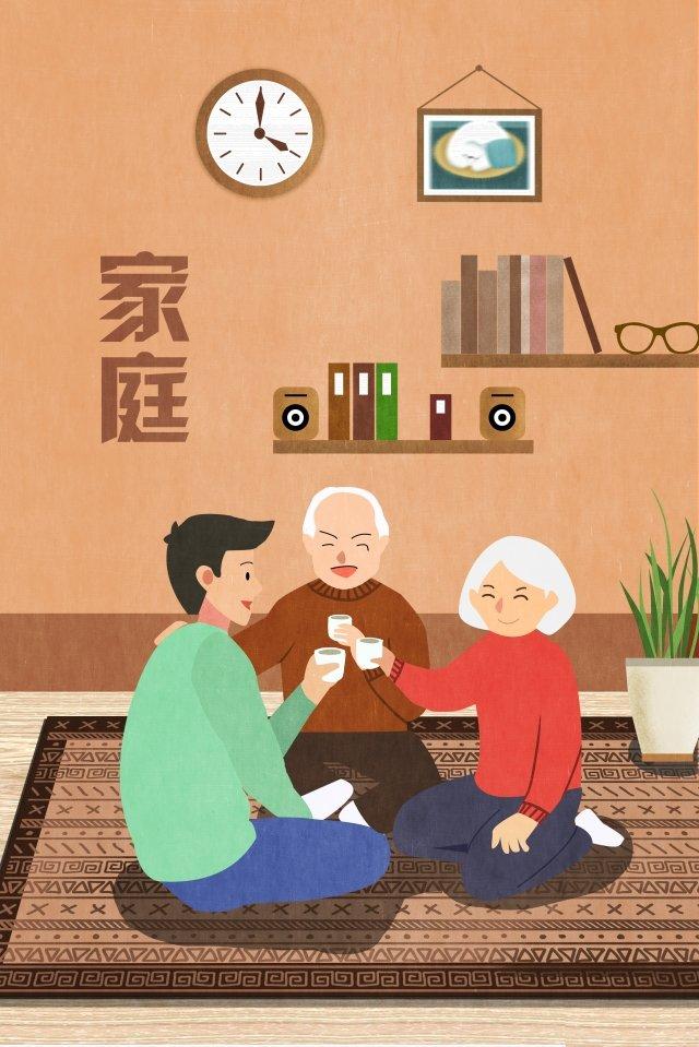 family warm reunion gather together illustration image