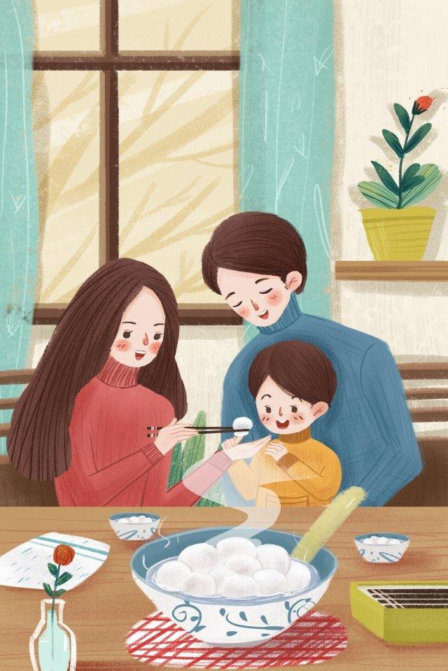 family warm yuan zhen lantern festival illustration image
