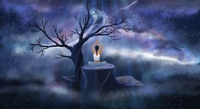 cảnh tưởng tượng cô gái cây yoga Hình minh họa Hình minh họa