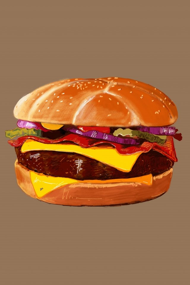 fast food food burger hand painted, American, United States, Fast Food illustration image