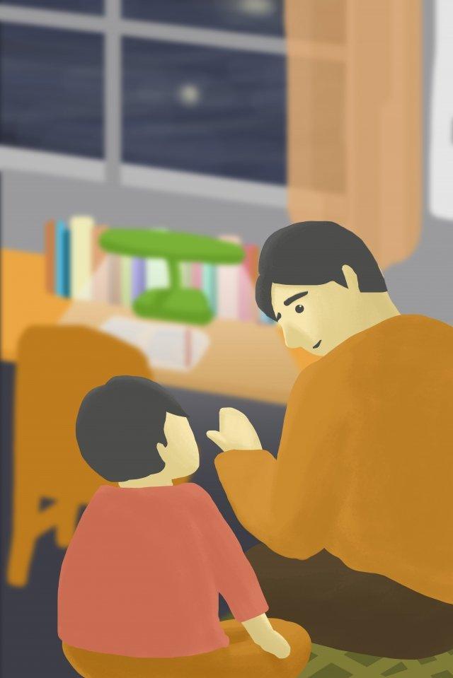 宿題をしている父と息子の対話 イラスト素材