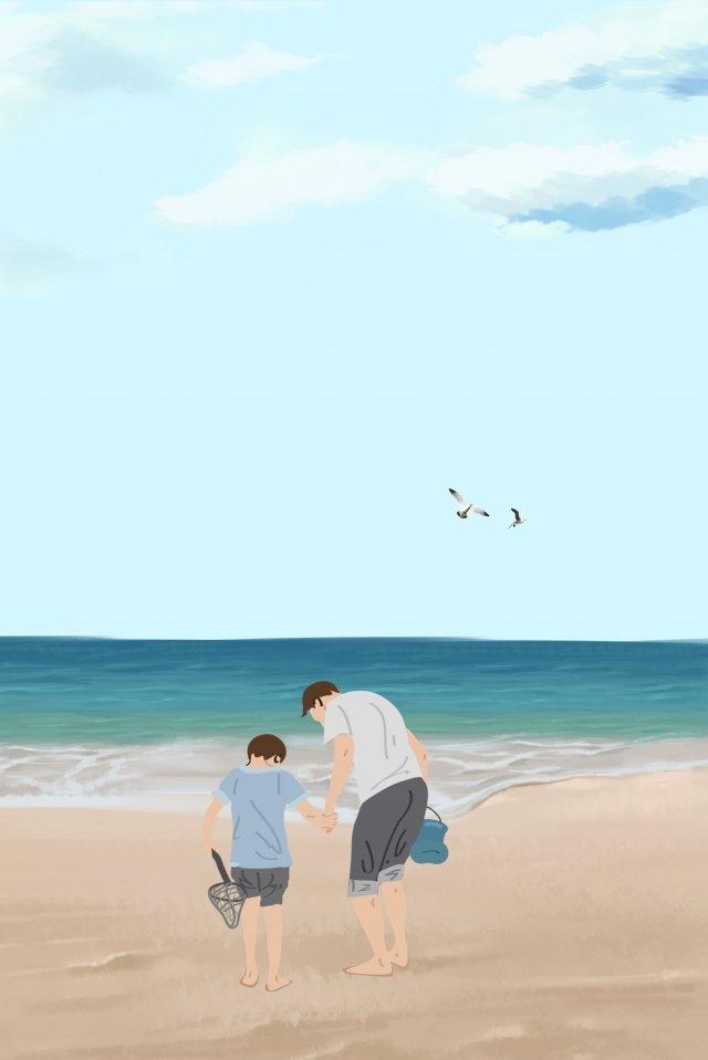 पिता और पुत्र पिता दिन नीले समुद्र तट सीगल चित्रण छवि
