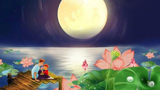 父と息子月ロータス蓮の葉 イラストレーション画像 イラスト画像