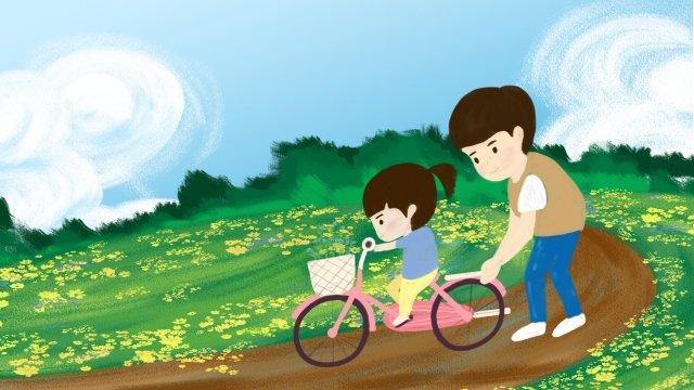 父の日父と娘の父は娘に暖かい自転車に乗るように教えます イラスト素材 イラスト画像