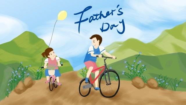 父の日父と娘のフィールドは自転車に乗る イラスト素材