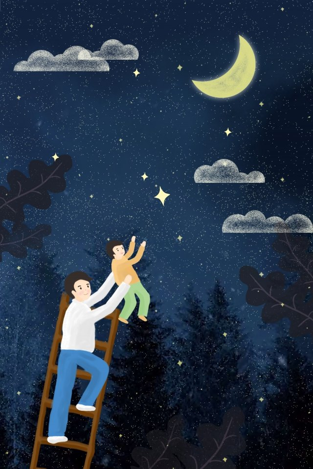 fathers day father and son picking up the stars night llustration image