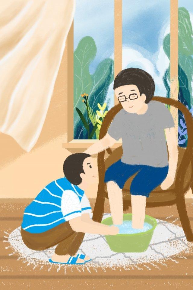 पिता के दिन पिता और पुत्र पुत्र अपने पिता के पैर गर्म करते थे चित्रण छवि चित्रण छवि