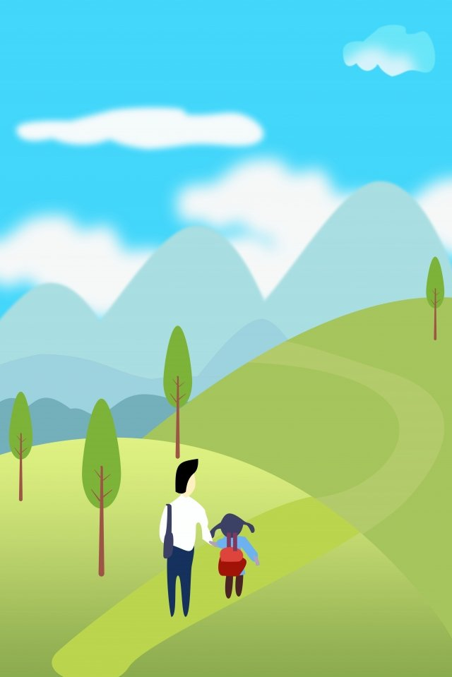 山の父の子としての父の日の父 イラストレーション画像