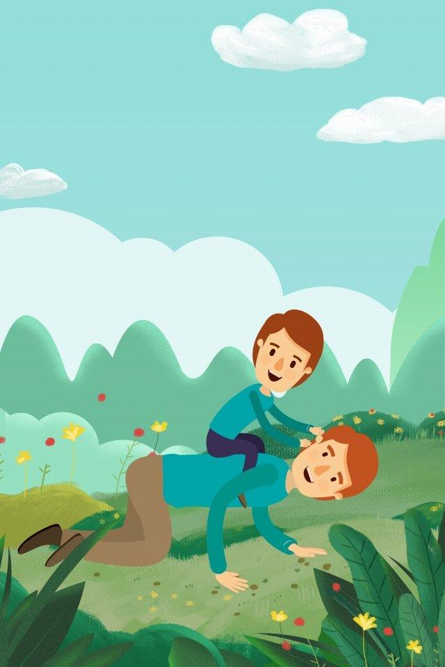 父親節綠色父親和兒子在山坡海報背景上玩 插畫圖片