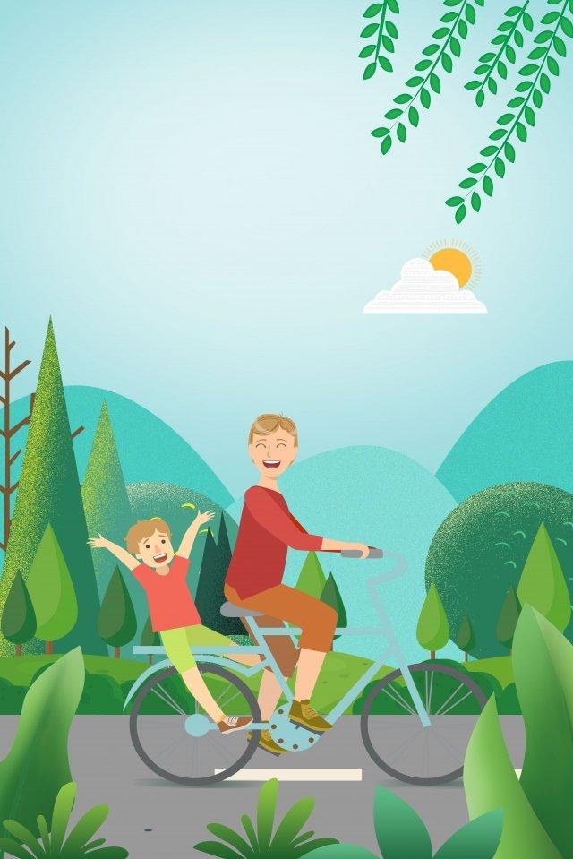 पिता के दिन हरे हाथ ने साइकिल चलाने वाले पिता और पुत्र को चित्रित किया चित्रण छवि चित्रण छवि