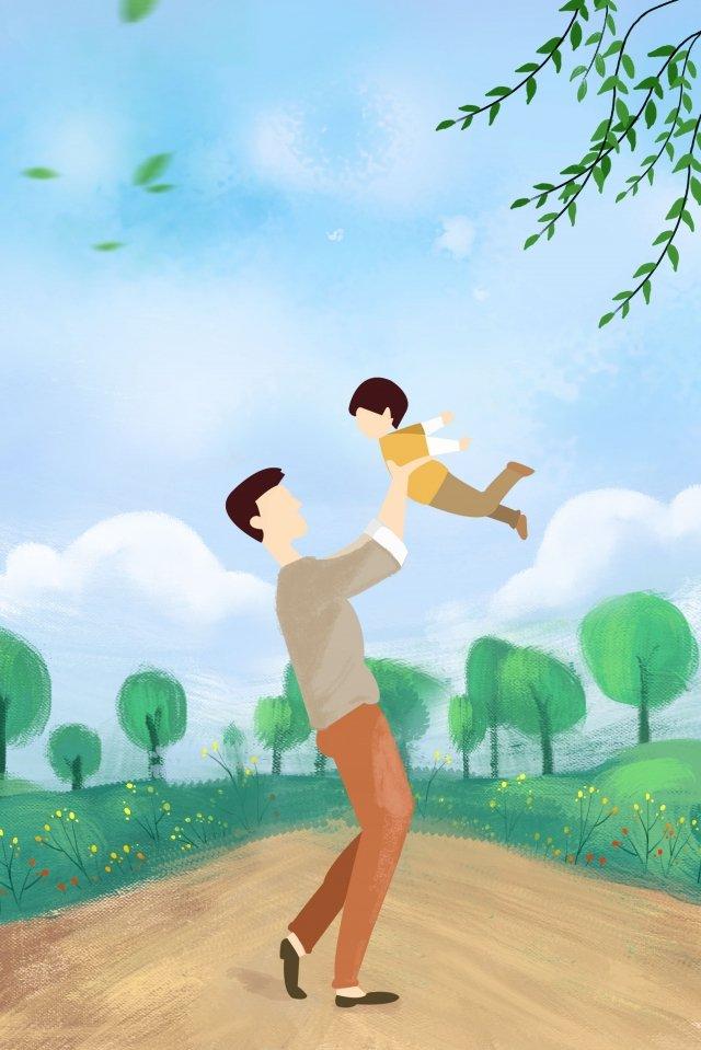पिता ने हाथ से पेंट किया पहाड़ी सड़क पिता और पुत्र चित्रण छवि चित्रण छवि