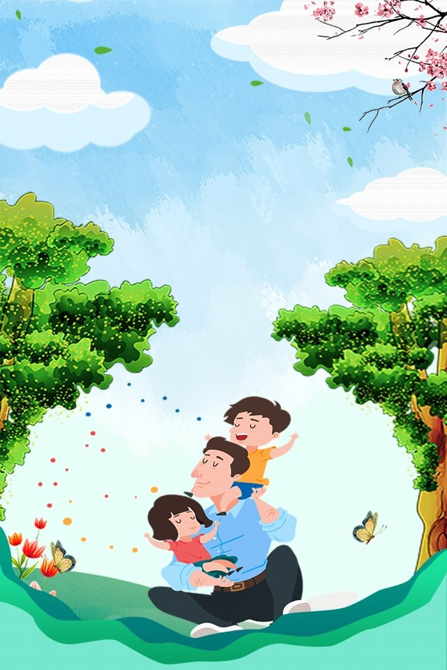fathers day happy hand drawn tree blue sky, White Clouds, Ad, Father illustration image