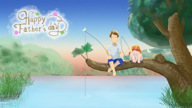 fathers day little girl father summer llustration image illustration image