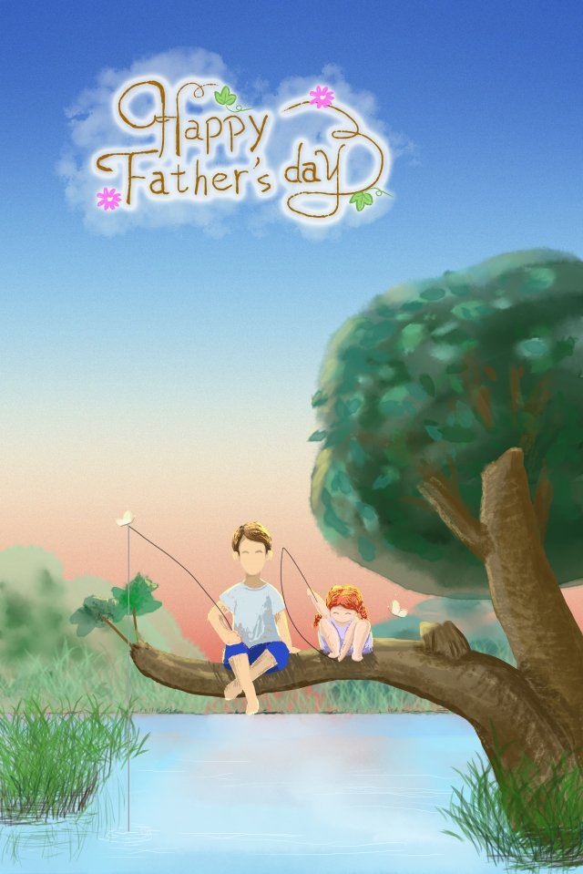 fathers day little girl father summer llustration image
