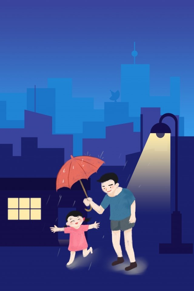 fathers day umbrella for you fatherly love blue, Late Night Background, City, Building illustration image