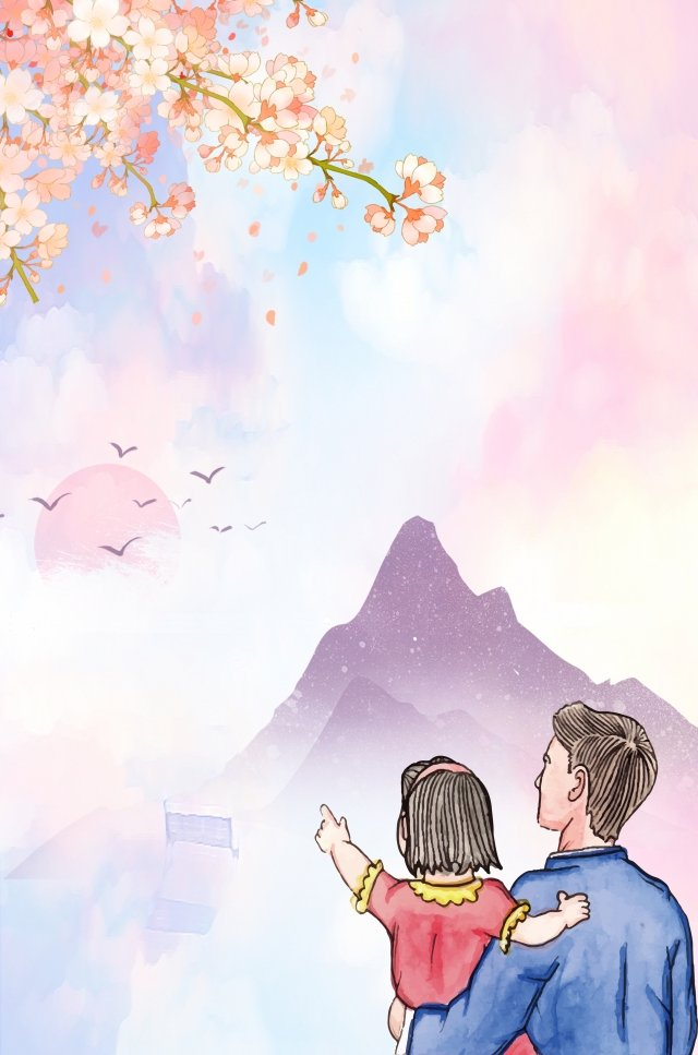 fathers day warm father and daughter cherry blossoms llustration image