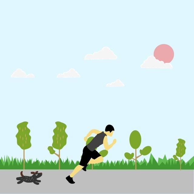 female run fitness cloud illustration image