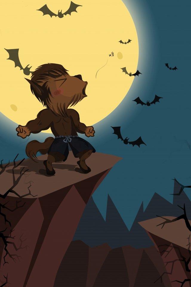 축제 축하 할로윈 달 박쥐 삽화 소재