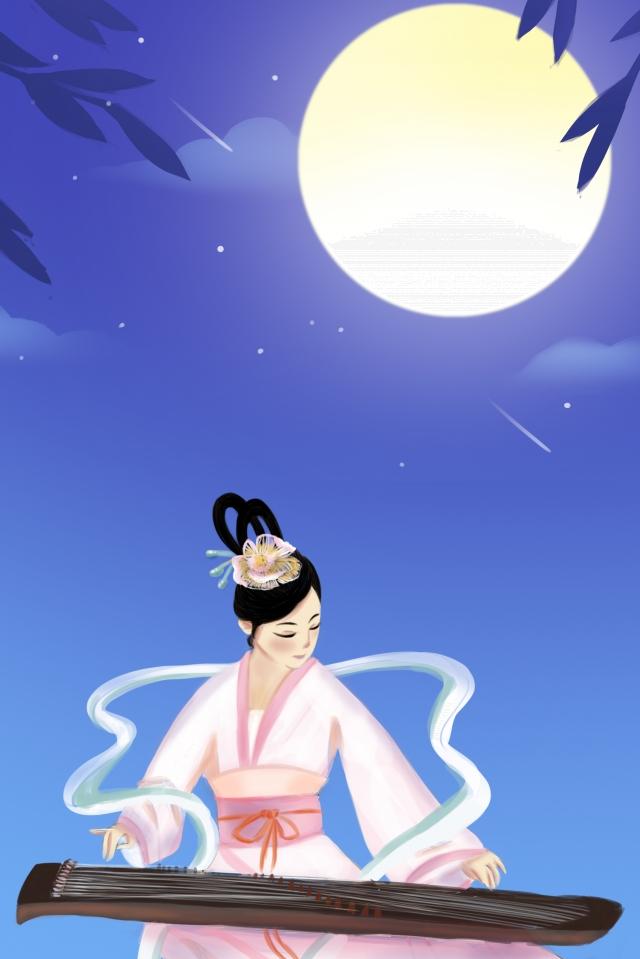 祭り伝統的な丸い月嫦娥 イラスト素材 イラスト画像