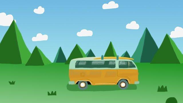 野外草原汽車旅行車 插畫素材 插畫圖片