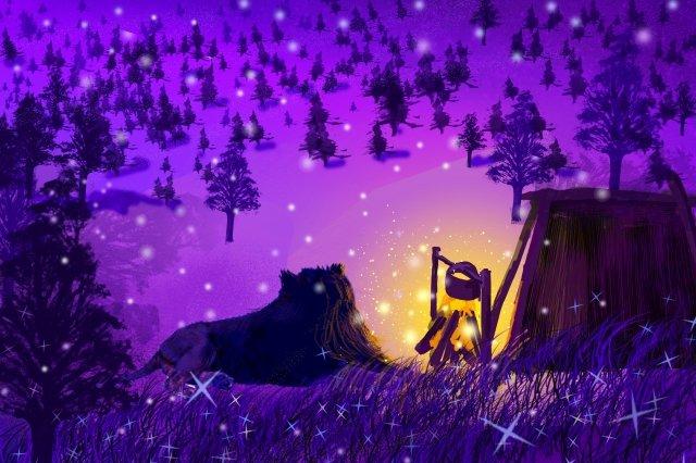 야간 모닥불 따뜻한 삽화 소재 삽화 이미지