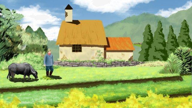 農村牛字符 插畫素材