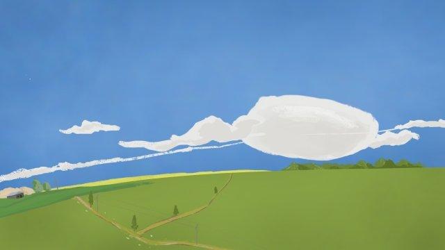 フィールド農村丘の中腹青い空 イラスト素材 イラスト画像